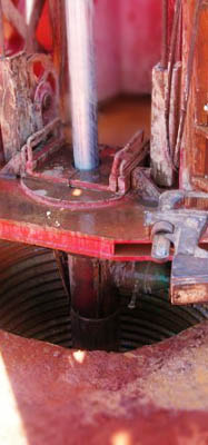 A drill bit on Kimberley Water's multi-purpose drill rig